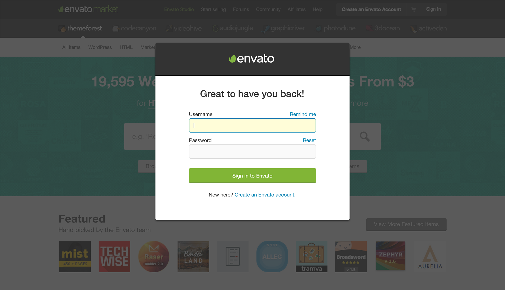 Envato sign up